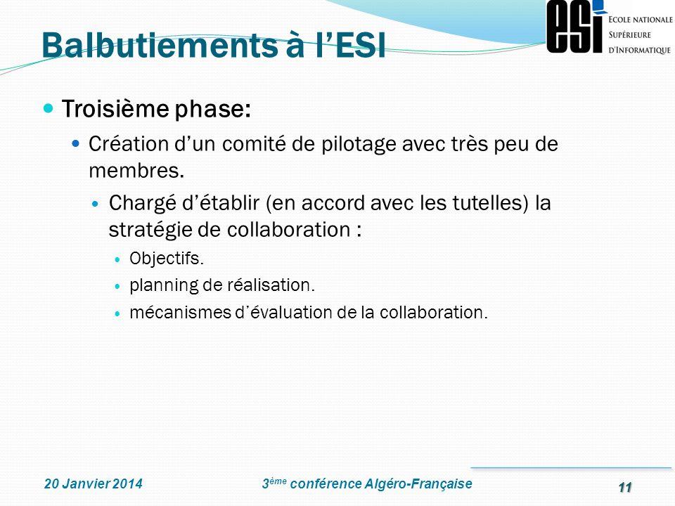 11 3 ème conférence Algéro-Française20 Janvier 2014 Troisième phase: Création dun comité de pilotage avec très peu de membres. Chargé détablir (en acc