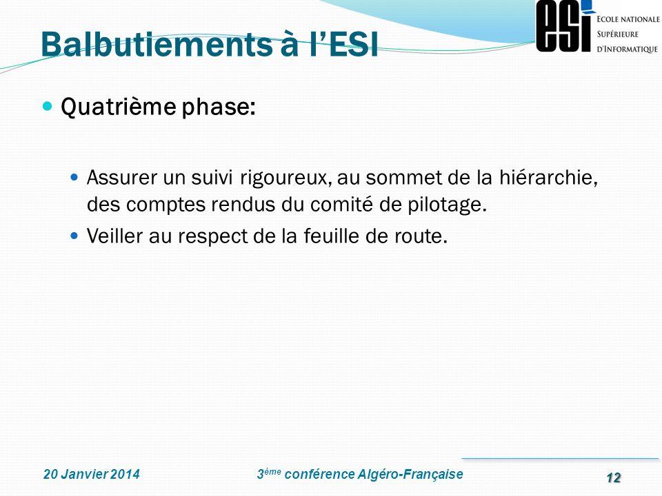 12 3 ème conférence Algéro-Française20 Janvier 2014 Quatrième phase: Assurer un suivi rigoureux, au sommet de la hiérarchie, des comptes rendus du com