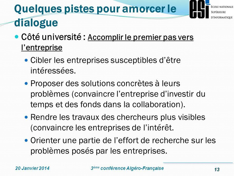 13 3 ème conférence Algéro-Française20 Janvier 2014 Côté université : Accomplir le premier pas vers lentreprise Cibler les entreprises susceptibles dê