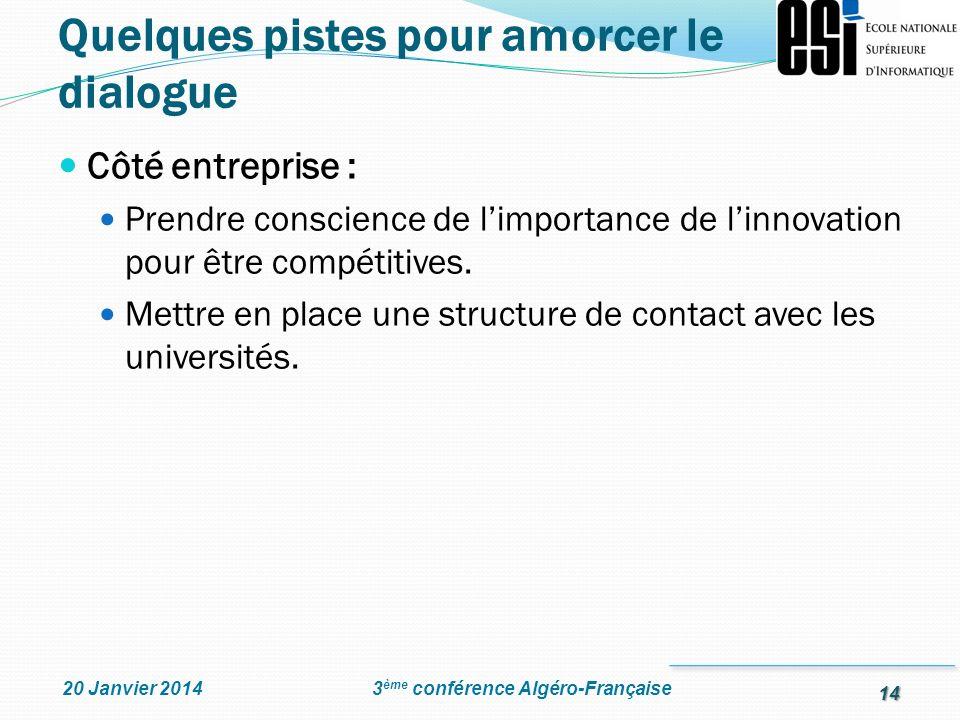 14 3 ème conférence Algéro-Française20 Janvier 2014 Côté entreprise : Prendre conscience de limportance de linnovation pour être compétitives. Mettre