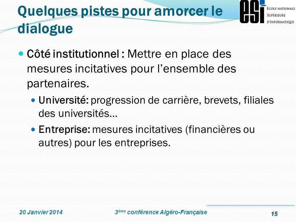 15 3 ème conférence Algéro-Française20 Janvier 2014 Côté institutionnel : Mettre en place des mesures incitatives pour lensemble des partenaires. Univ