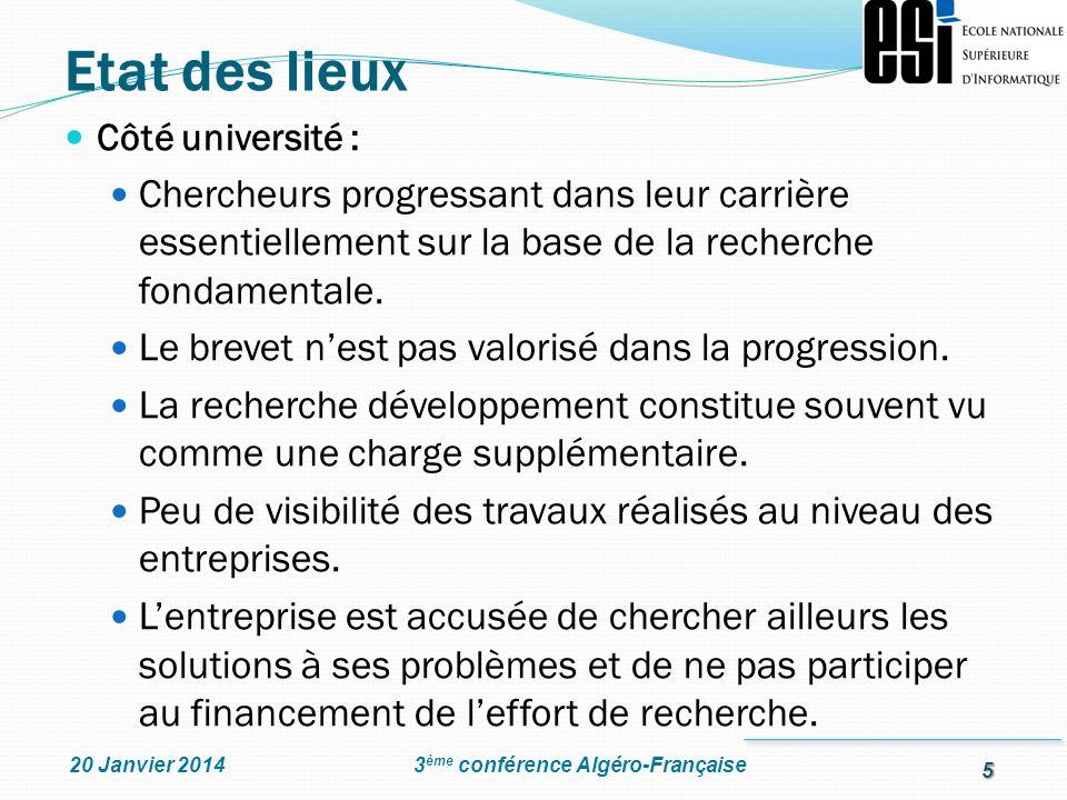 5 3 ème conférence Algéro-Française20 Janvier 2014 Côté université : Chercheurs progressant dans leur carrière essentiellement sur la base de la reche