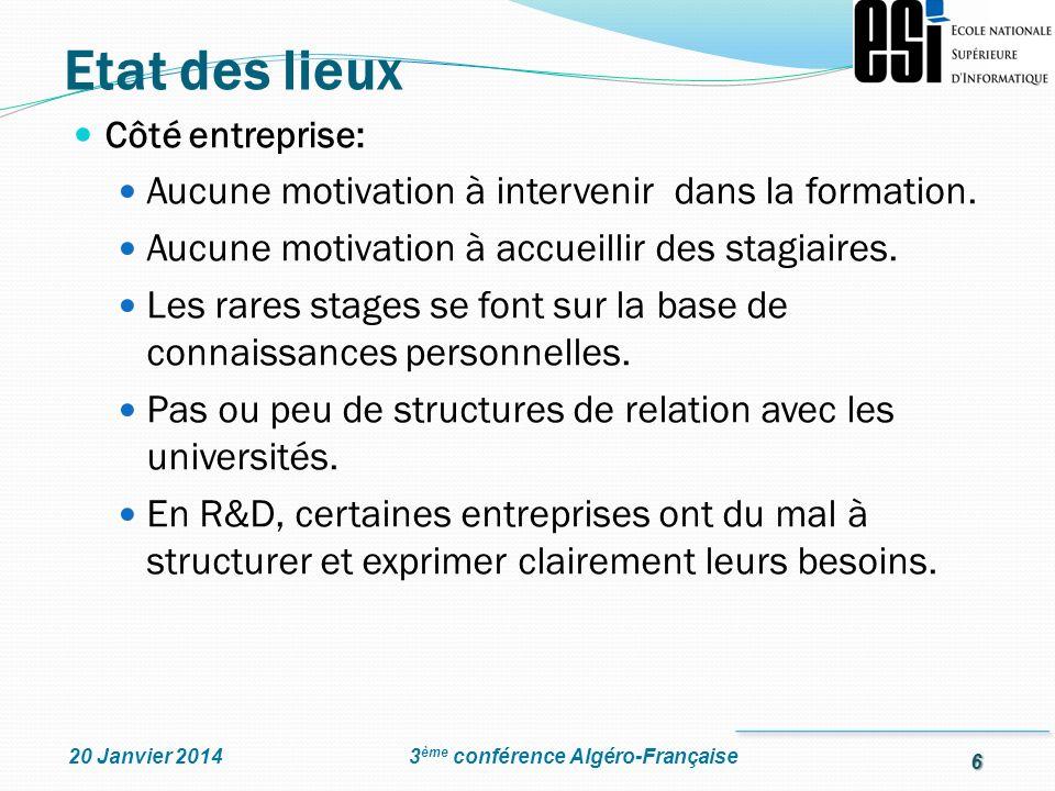 6 3 ème conférence Algéro-Française20 Janvier 2014 Côté entreprise: Aucune motivation à intervenir dans la formation. Aucune motivation à accueillir d