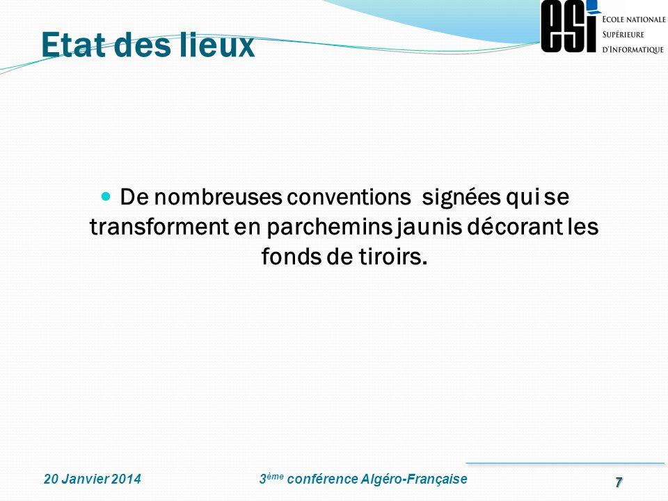 7 3 ème conférence Algéro-Française20 Janvier 2014 De nombreuses conventions signées qui se transforment en parchemins jaunis décorant les fonds de ti
