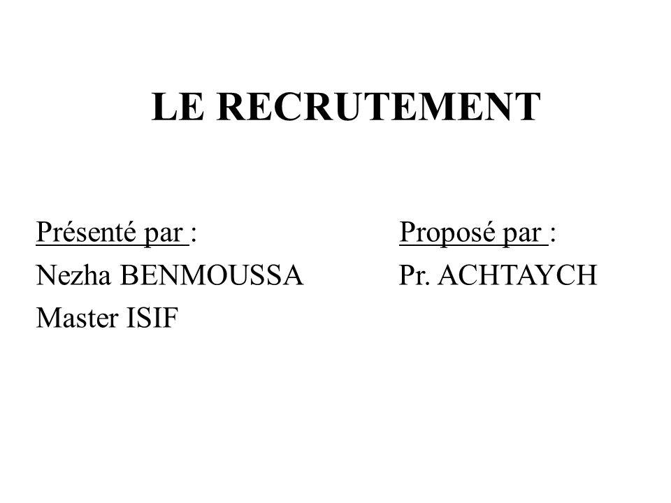 LE RECRUTEMENT Présenté par : Proposé par : Nezha BENMOUSSA Pr. ACHTAYCH Master ISIF