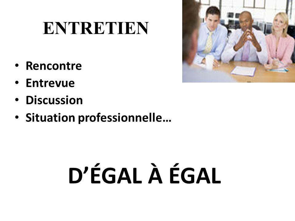 ENTRETIEN Rencontre Entrevue Discussion Situation professionnelle… DÉGAL À ÉGAL