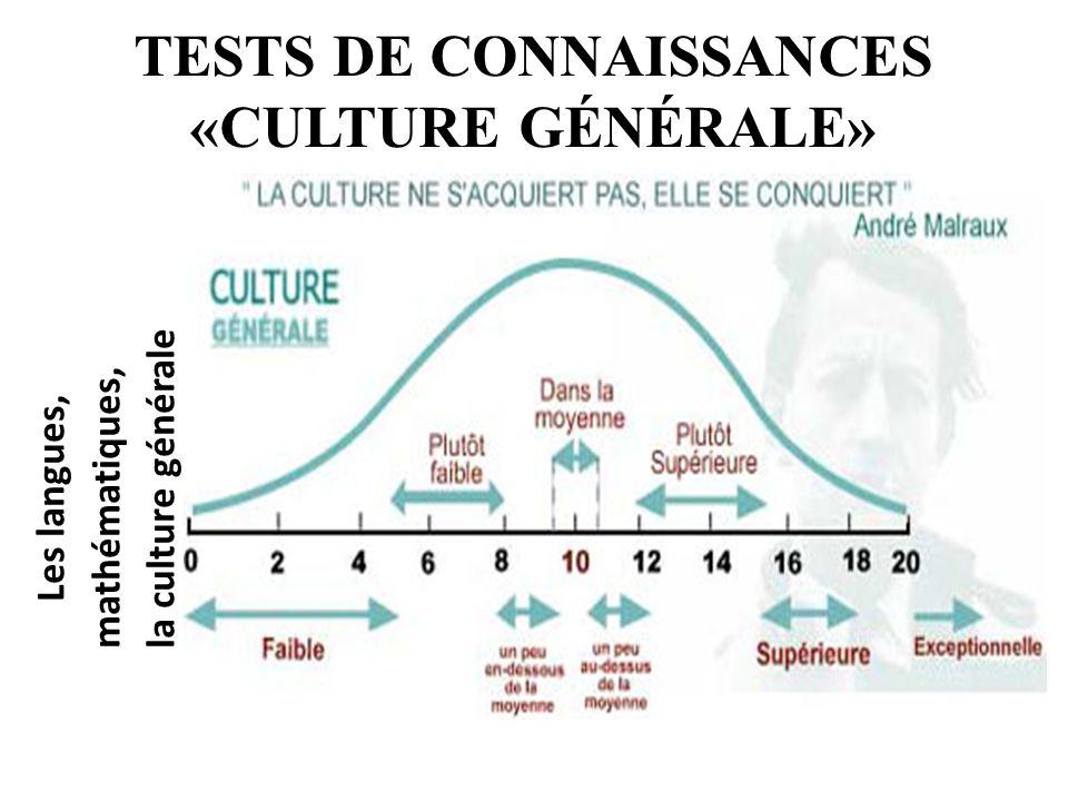 TESTS DE CONNAISSANCES «CULTURE GÉNÉRALE» Les langues, mathématiques, la culture générale