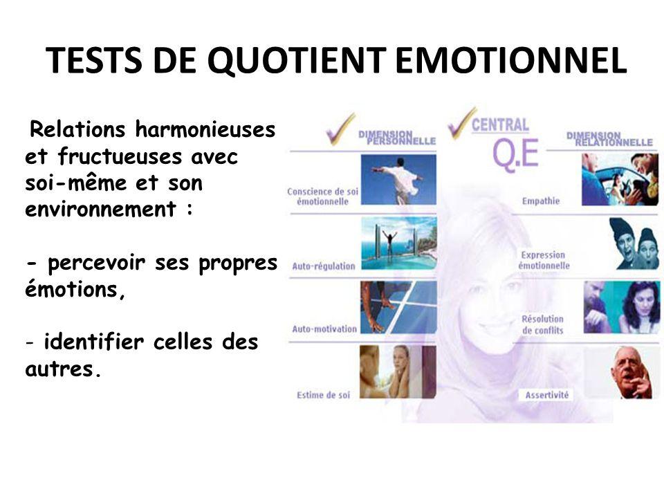 TESTS DE QUOTIENT EMOTIONNEL Relations harmonieuses et fructueuses avec soi-même et son environnement : - percevoir ses propres émotions, - identifier celles des autres.