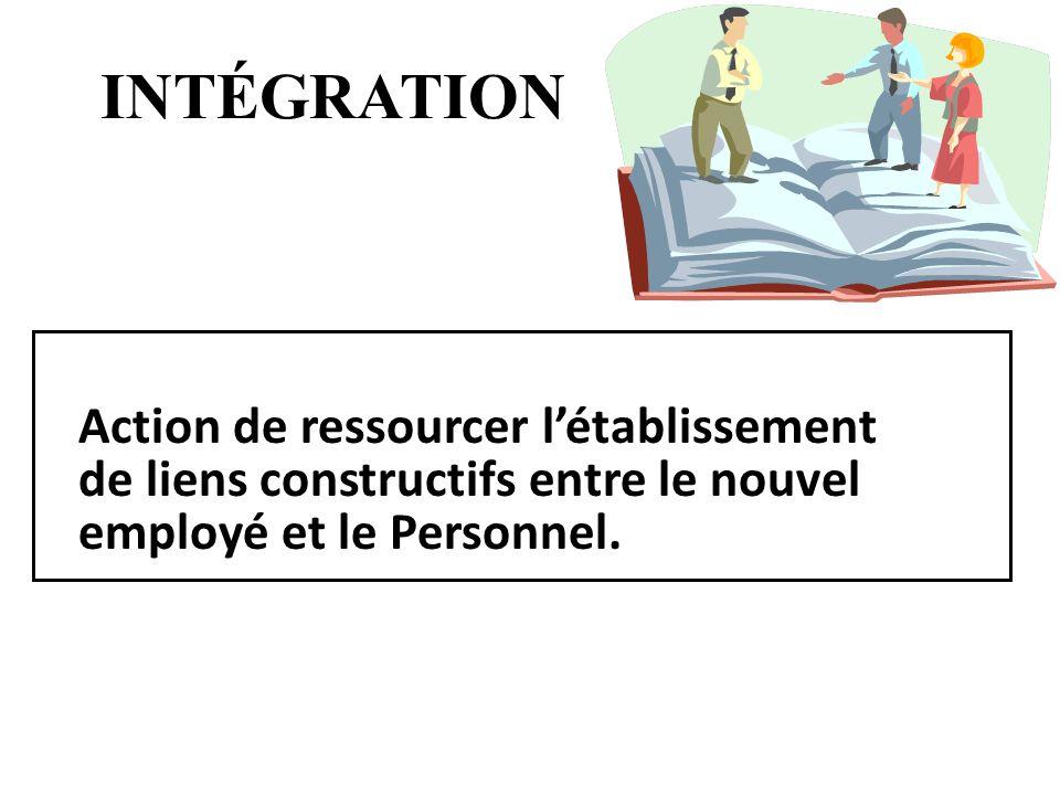 INTÉGRATION Action de ressourcer létablissement de liens constructifs entre le nouvel employé et le Personnel.
