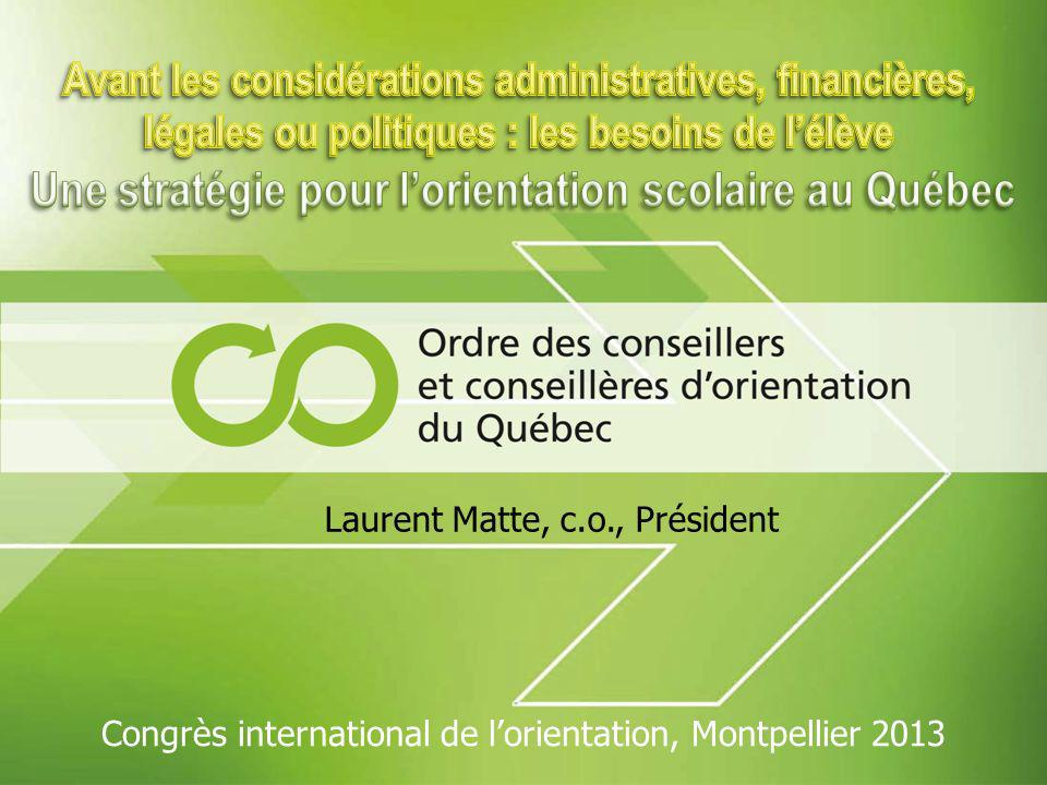 Laurent Matte, c.o., Président Congrès international de lorientation, Montpellier 2013