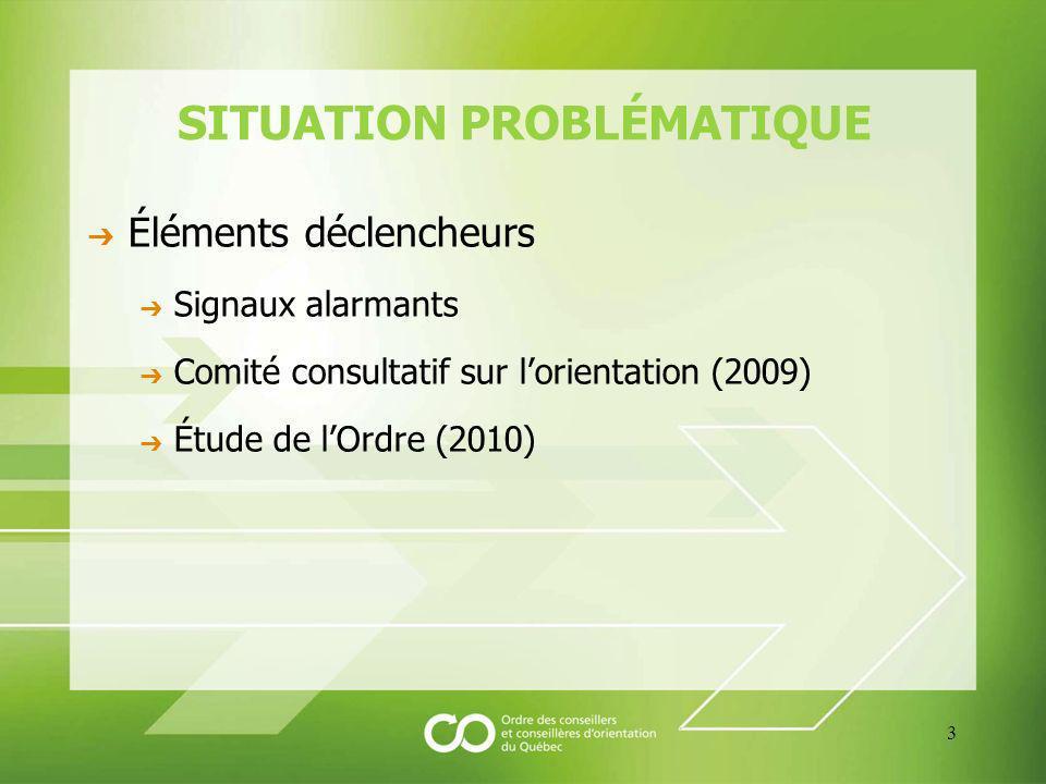 SITUATION PROBLÉMATIQUE Éléments déclencheurs Signaux alarmants Comité consultatif sur lorientation (2009) Étude de lOrdre (2010) 3