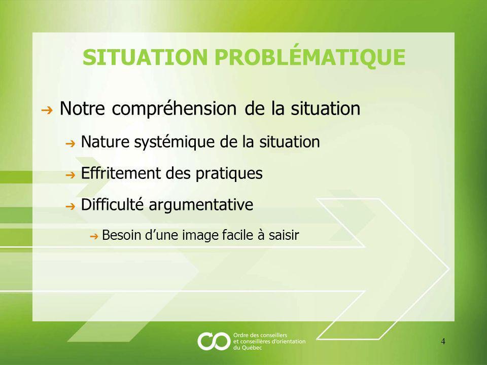 SITUATION PROBLÉMATIQUE Notre compréhension de la situation Nature systémique de la situation Effritement des pratiques Difficulté argumentative Besoin dune image facile à saisir 4