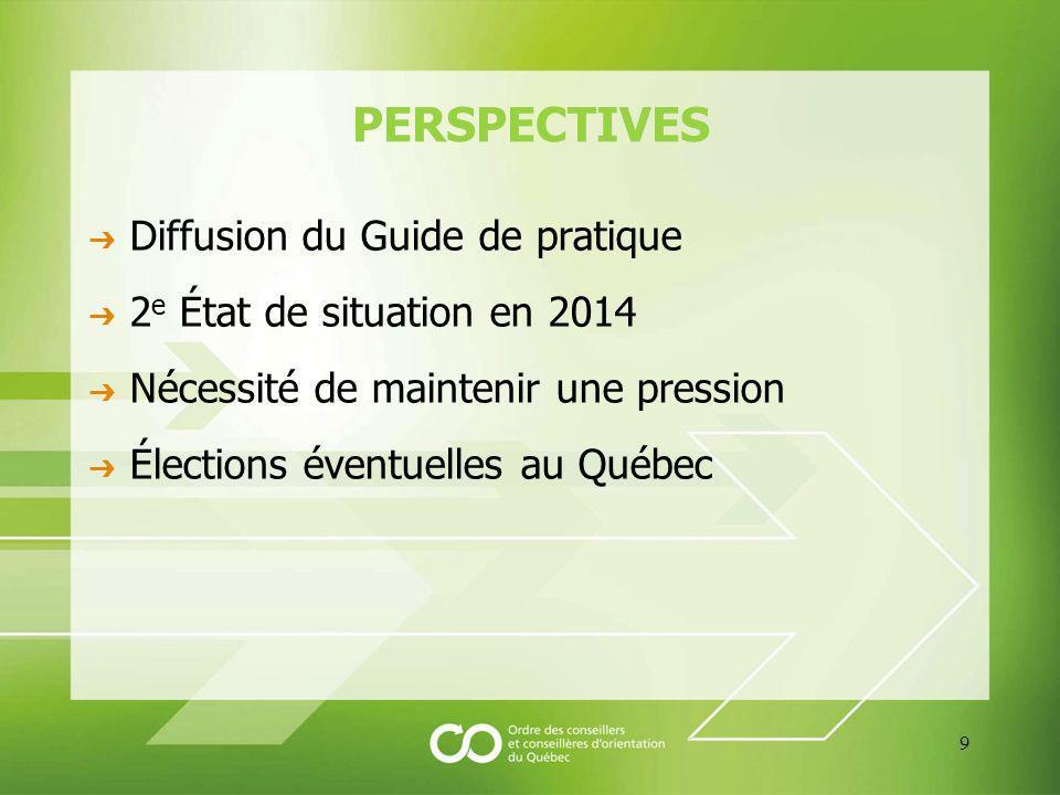 POUR CONCLURE Une profession qui « ne fait pas de vagues » Avoir raison ne suffit pas Nécessité defforts soutenus, concertés, à niveaux multiples Suite lan prochain à Québec!...