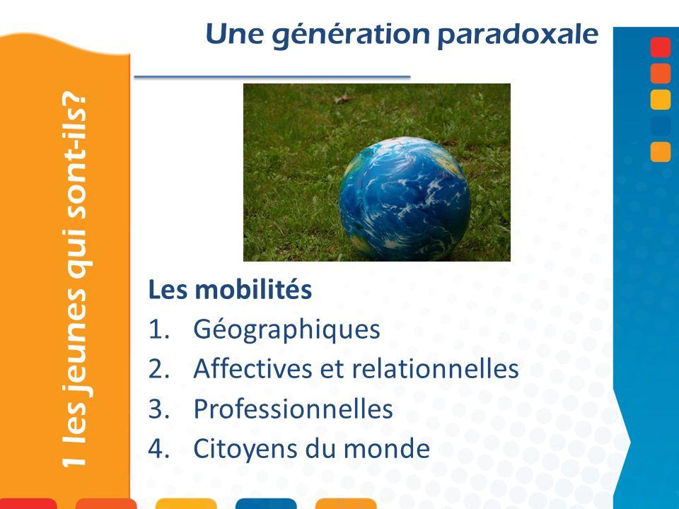 1 les jeunes qui sont-ils? Une génération paradoxale Les mobilités 1.Géographiques 2.Affectives et relationnelles 3.Professionnelles 4.Citoyens du mon