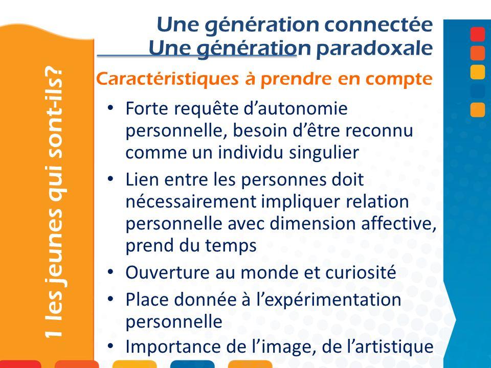 Caractéristiques à prendre en compte 1 les jeunes qui sont-ils? Une génération connectée Une génération paradoxale Forte requête dautonomie personnell