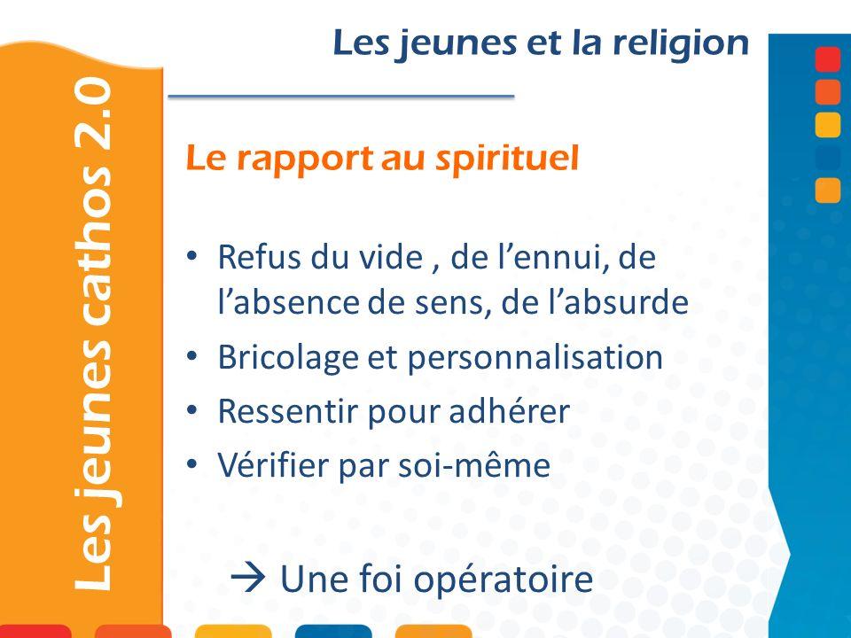 Le rapport au spirituel Les jeunes cathos 2.0 Les jeunes et la religion Refus du vide, de lennui, de labsence de sens, de labsurde Bricolage et person