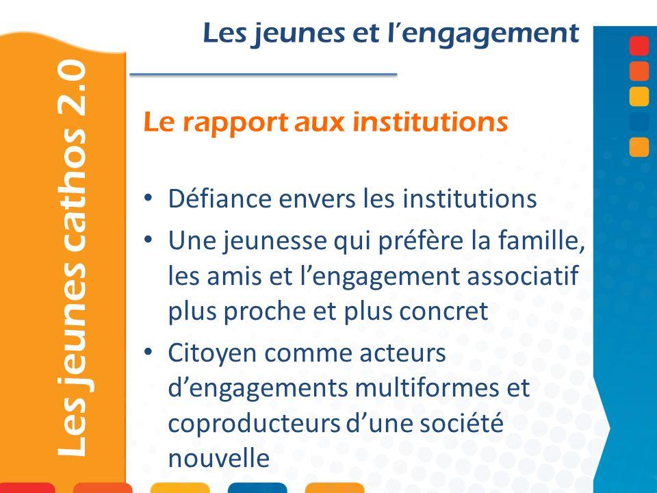 Le rapport aux institutions Les jeunes cathos 2.0 Les jeunes et lengagement Défiance envers les institutions Une jeunesse qui préfère la famille, les