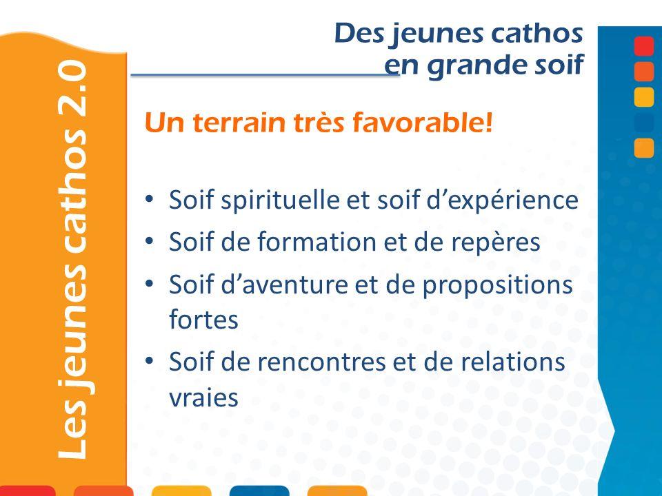 Un terrain très favorable! Les jeunes cathos 2.0 Des jeunes cathos en grande soif Soif spirituelle et soif dexpérience Soif de formation et de repères