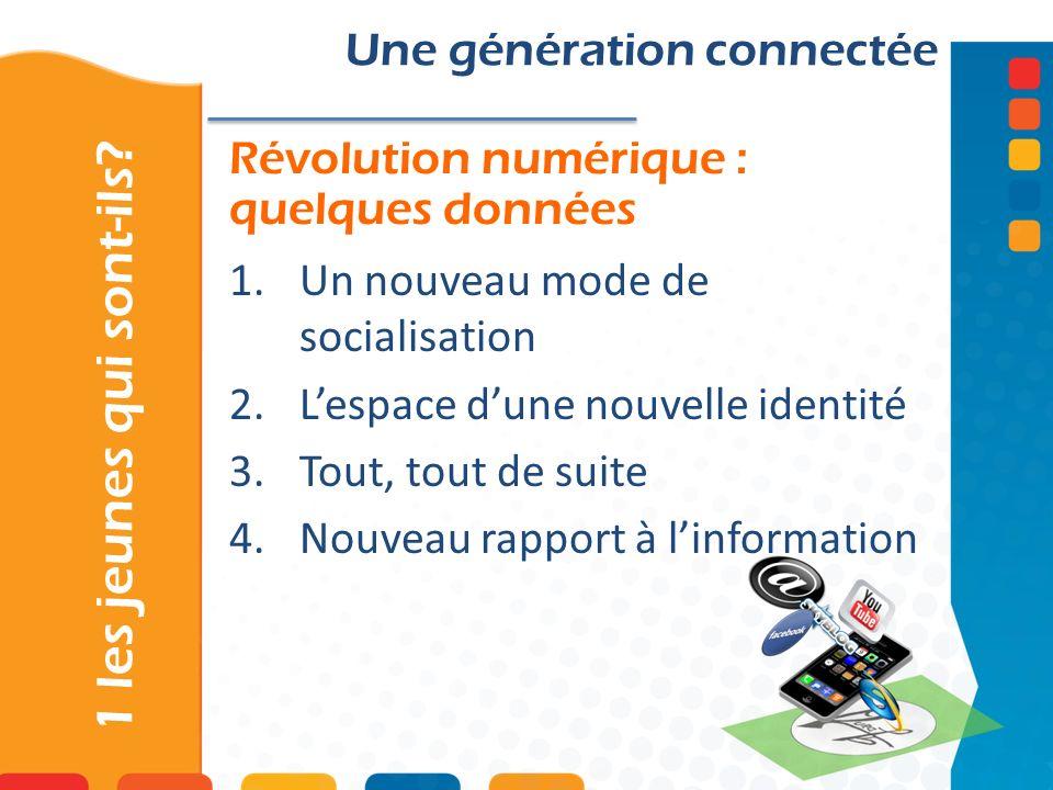 Révolution numérique : quelques données 1 les jeunes qui sont-ils? Une génération connectée 1.Un nouveau mode de socialisation 2.Lespace dune nouvelle
