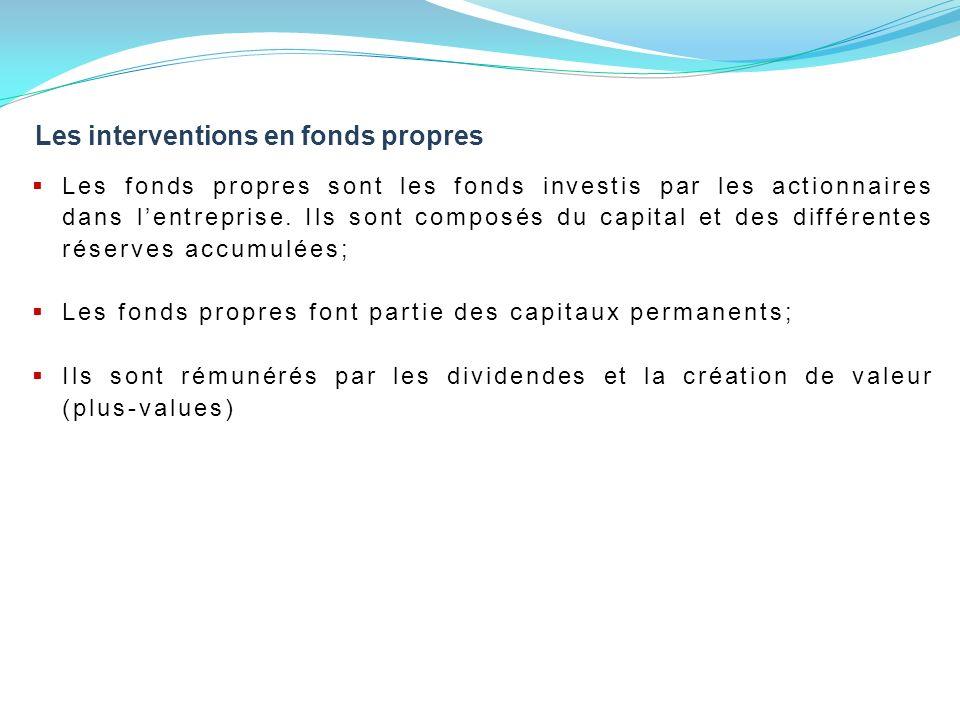 Les interventions en fonds propres Les fonds propres sont les fonds investis par les actionnaires dans lentreprise.