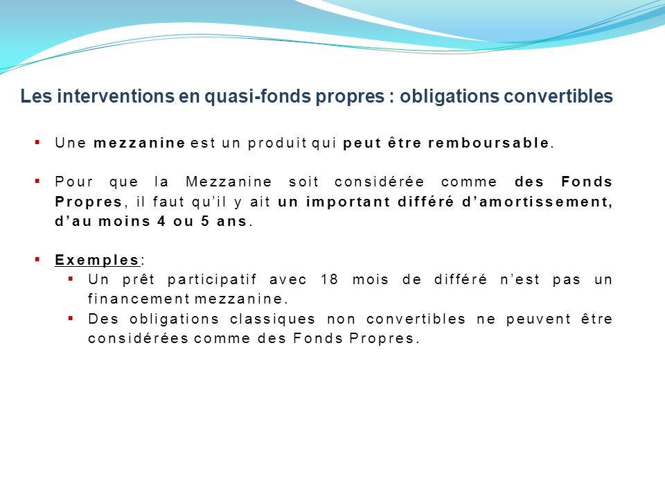 Les interventions en quasi-fonds propres : obligations convertibles Une mezzanine est un produit qui peut être remboursable.