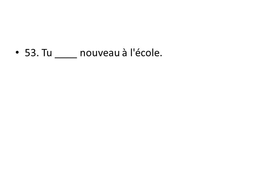53. Tu ____ nouveau à l école.