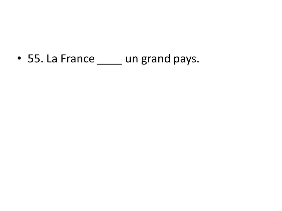 55. La France ____ un grand pays.