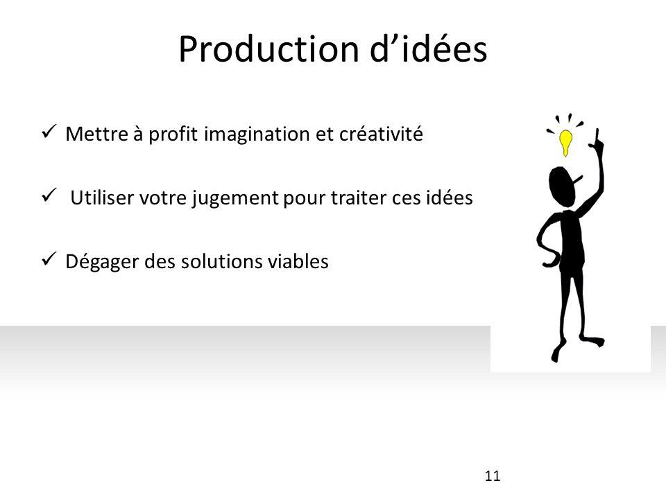 Production didées Mettre à profit imagination et créativité Utiliser votre jugement pour traiter ces idées Dégager des solutions viables 11