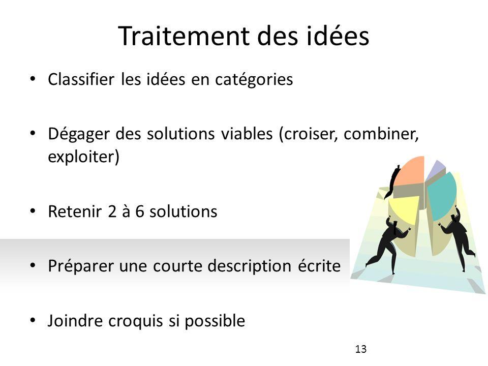 Traitement des idées Classifier les idées en catégories Dégager des solutions viables (croiser, combiner, exploiter) Retenir 2 à 6 solutions Préparer une courte description écrite Joindre croquis si possible 13