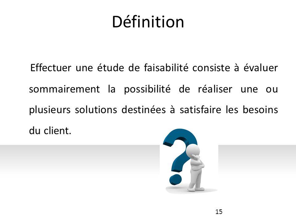 Définition Effectuer une étude de faisabilité consiste à évaluer sommairement la possibilité de réaliser une ou plusieurs solutions destinées à satisfaire les besoins du client.