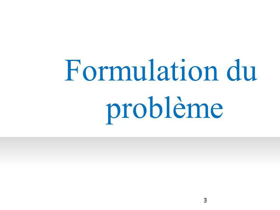 4 4 3 3 2 2 1 1 Formulation du problème Analyse des besoins du client Résumé sous forme dobjectifs des besoins du client.