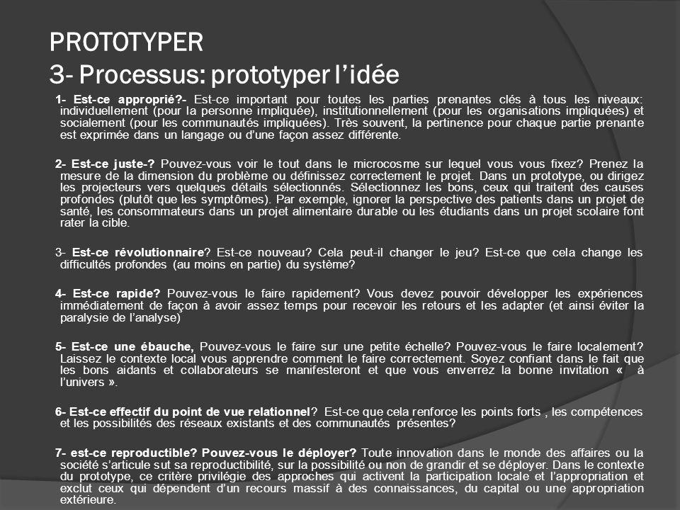 PROTOTYPER 3- Processus: prototyper lidée 1- Est-ce approprié?- Est-ce important pour toutes les parties prenantes clés à tous les niveaux: individuellement (pour la personne impliquée), institutionnellement (pour les organisations impliquées) et socialement (pour les communautés impliquées).