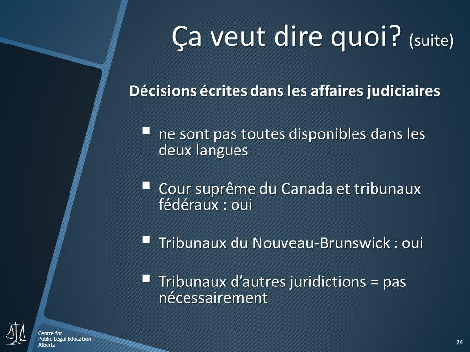 Centre for Public Legal Education Alberta 24 Décisions écrites dans les affaires judiciaires ne sont pas toutes disponibles dans les deux langues ne sont pas toutes disponibles dans les deux langues Cour suprême du Canada et tribunaux fédéraux : oui Cour suprême du Canada et tribunaux fédéraux : oui Tribunaux du Nouveau-Brunswick : oui Tribunaux du Nouveau-Brunswick : oui Tribunaux dautres juridictions = pas nécessairement Tribunaux dautres juridictions = pas nécessairement Ça veut dire quoi.