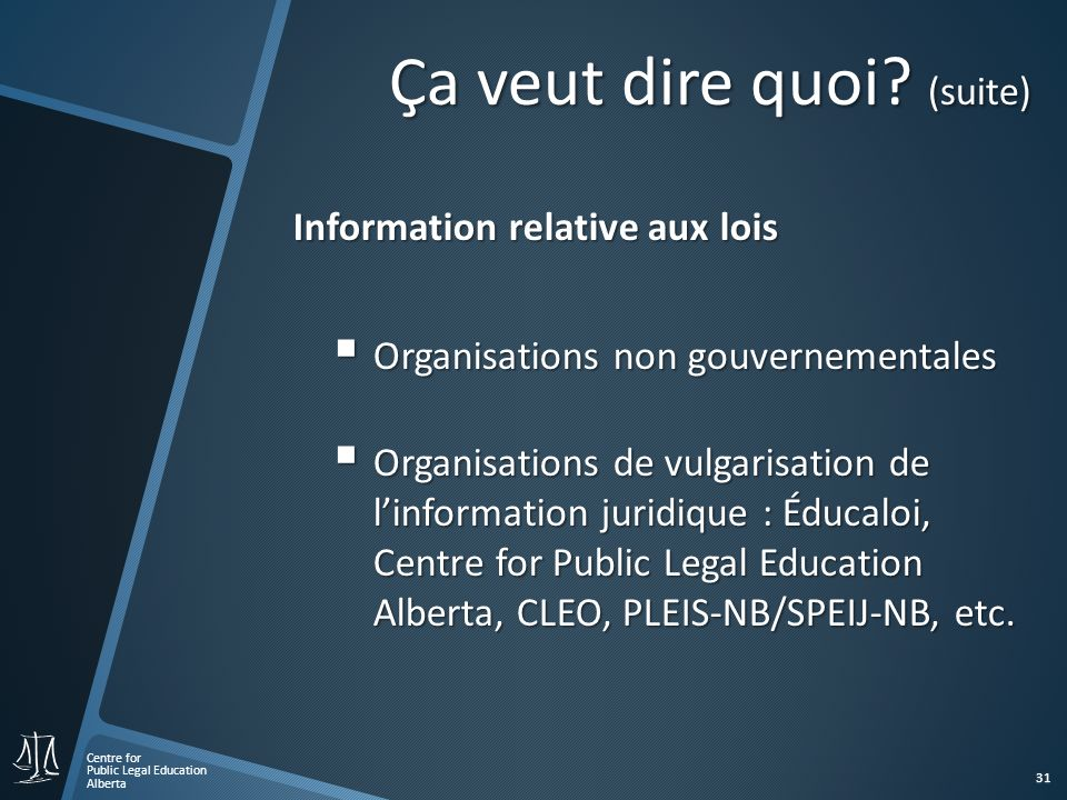 Centre for Public Legal Education Alberta 31 Information relative aux lois Organisations non gouvernementales Organisations non gouvernementales Organisations de vulgarisation de linformation juridique : Éducaloi, Centre for Public Legal Education Alberta, CLEO, PLEIS-NB/SPEIJ-NB, etc.