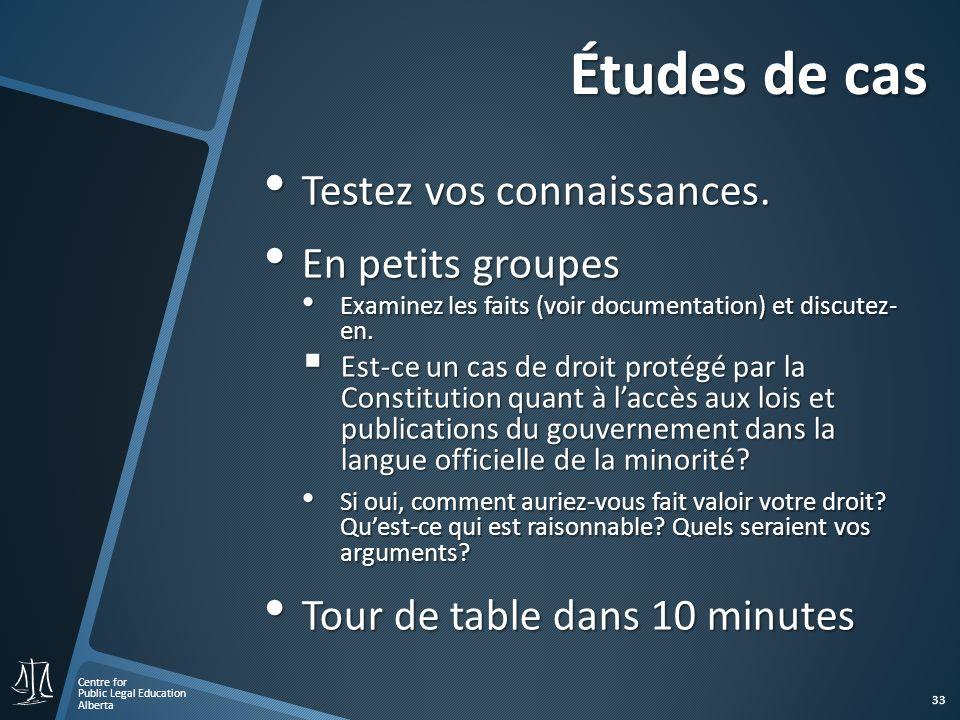 Centre for Public Legal Education Alberta 33 Études de cas Testez vos connaissances.