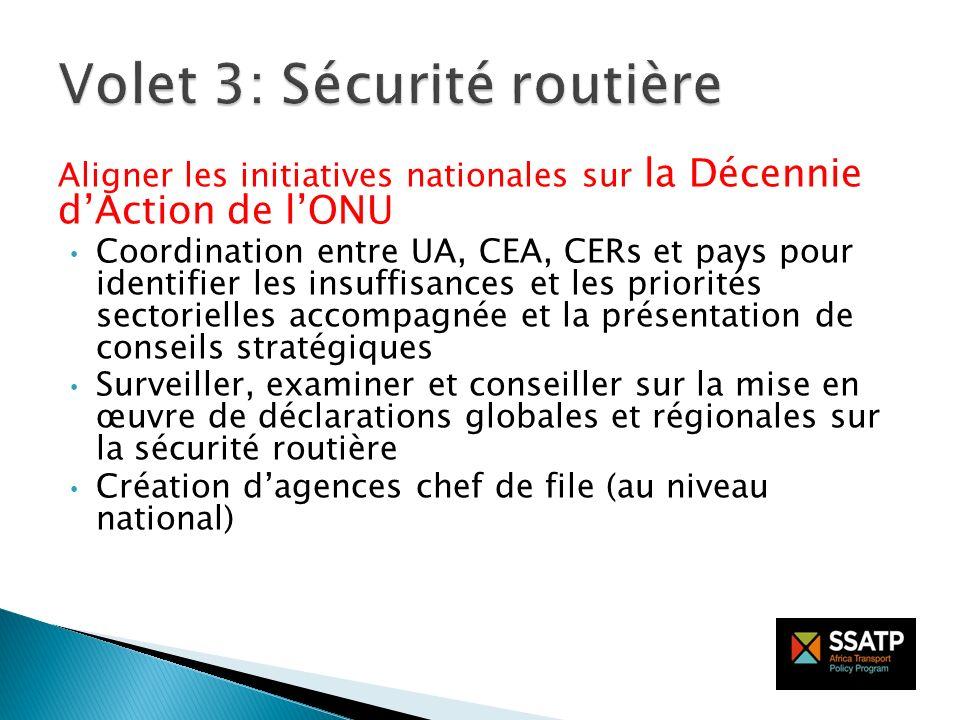 Aligner les initiatives nationales sur la Décennie dAction de lONU Coordination entre UA, CEA, CERs et pays pour identifier les insuffisances et les p