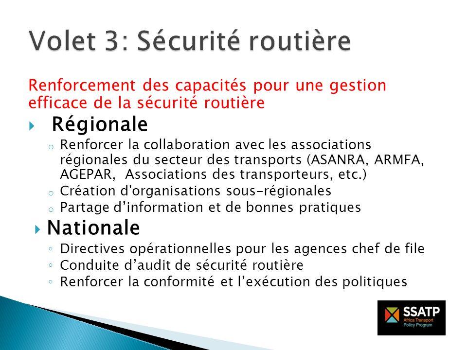 Renforcement des capacités pour une gestion efficace de la sécurité routière Régionale o Renforcer la collaboration avec les associations régionales d
