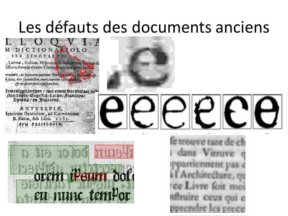 Les défauts des documents anciens