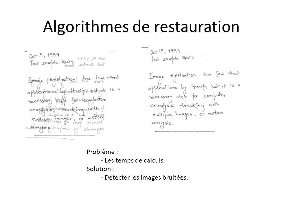 Algorithmes de restauration Problème : - Les temps de calculs Solution : - Détecter les images bruitées.