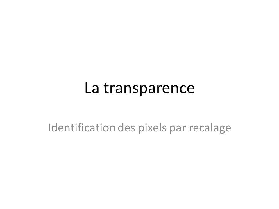 La transparence Identification des pixels par recalage