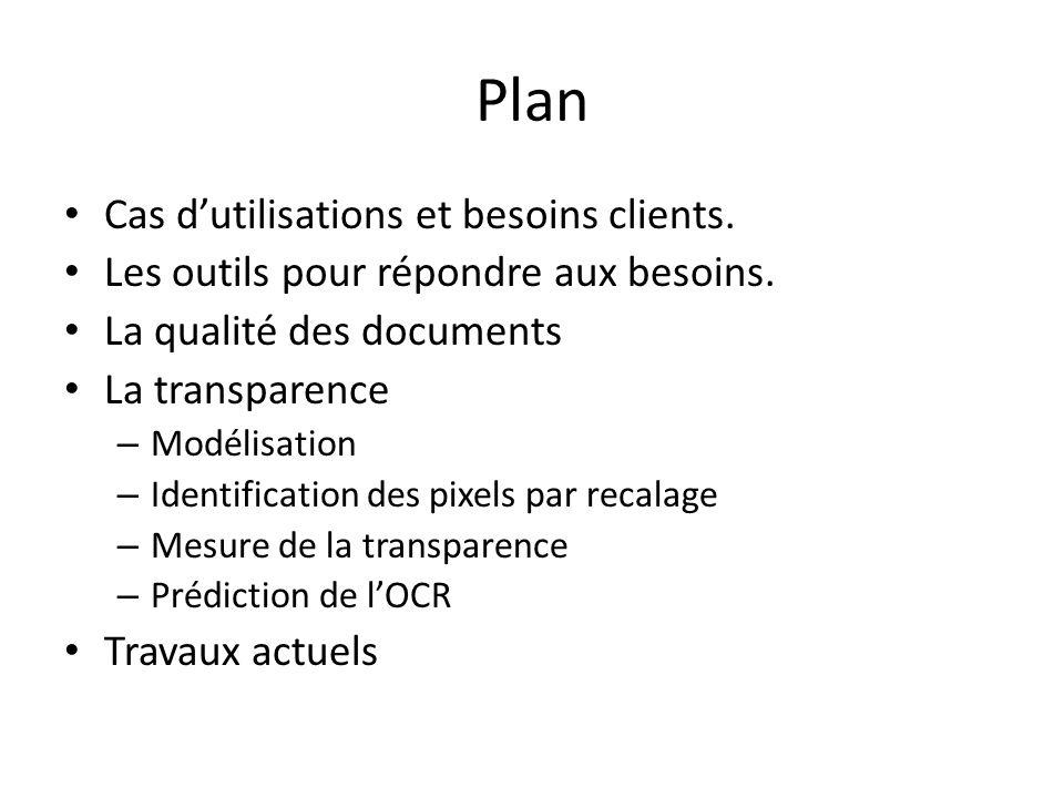 Plan Cas dutilisations et besoins clients. Les outils pour répondre aux besoins. La qualité des documents La transparence – Modélisation – Identificat