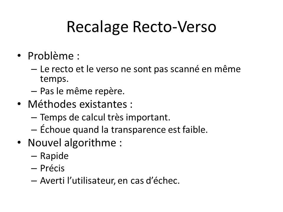Problème : – Le recto et le verso ne sont pas scanné en même temps. – Pas le même repère. Méthodes existantes : – Temps de calcul très important. – Éc