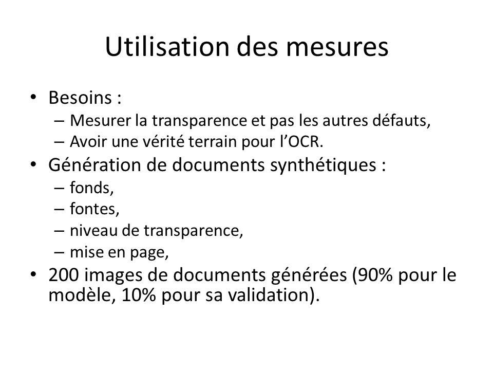 Utilisation des mesures Besoins : – Mesurer la transparence et pas les autres défauts, – Avoir une vérité terrain pour lOCR. Génération de documents s