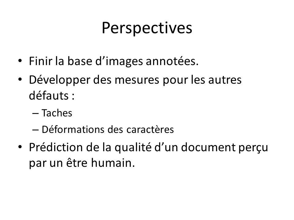 Perspectives Finir la base dimages annotées. Développer des mesures pour les autres défauts : – Taches – Déformations des caractères Prédiction de la