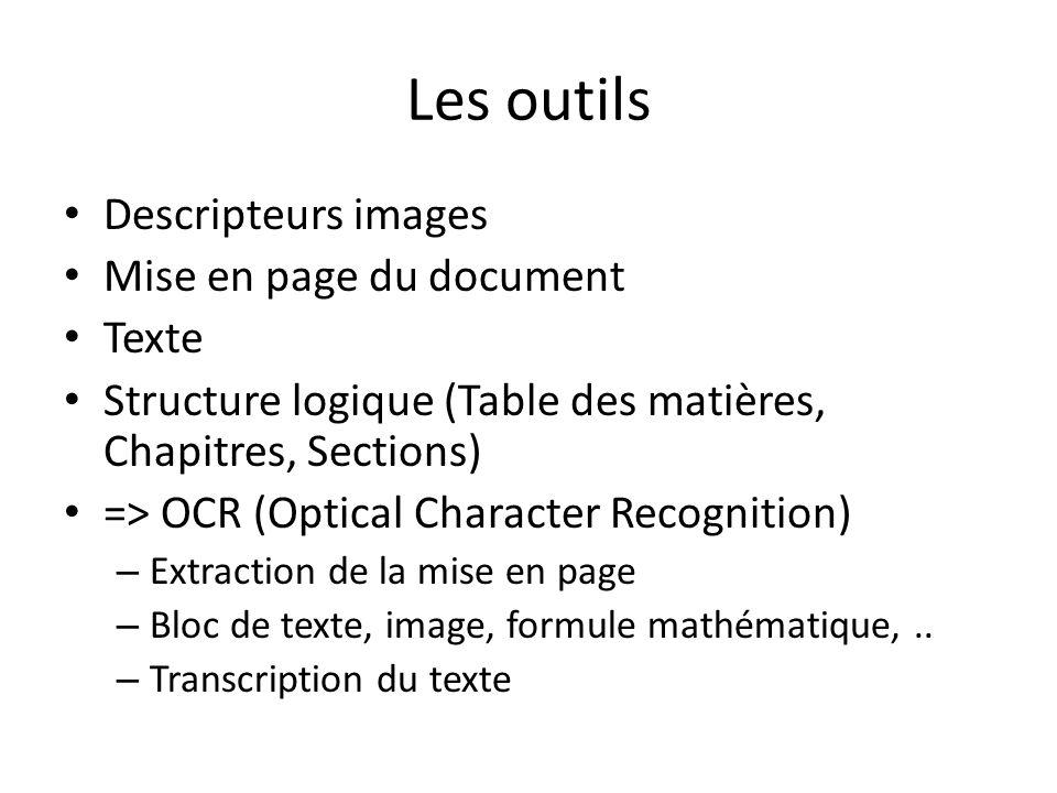 Les outils Descripteurs images Mise en page du document Texte Structure logique (Table des matières, Chapitres, Sections) => OCR (Optical Character Re