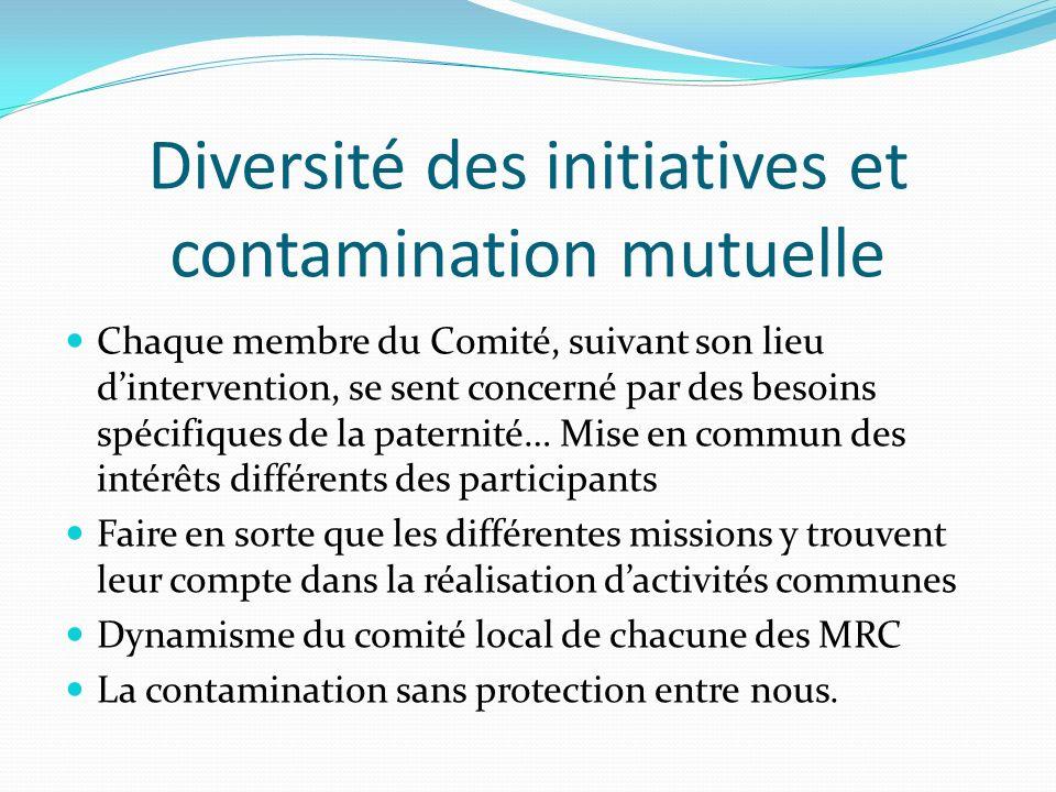 Diversité des initiatives et contamination mutuelle Chaque membre du Comité, suivant son lieu dintervention, se sent concerné par des besoins spécifiq