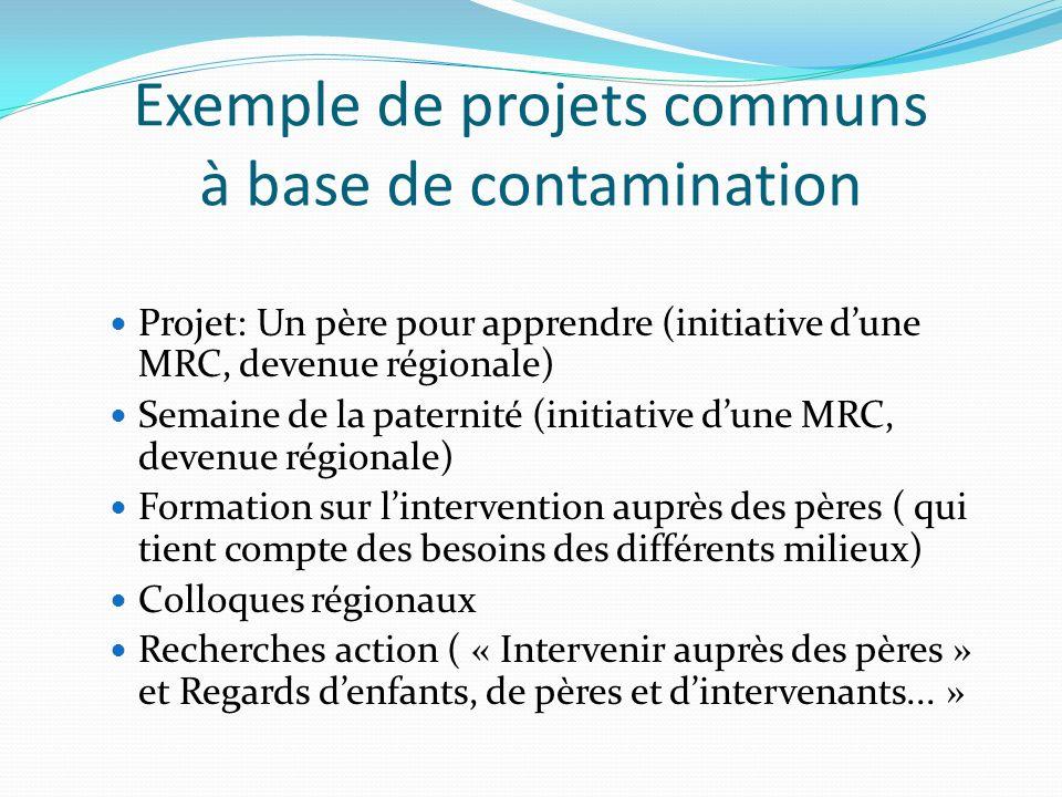 Exemple de projets communs à base de contamination Projet: Un père pour apprendre (initiative dune MRC, devenue régionale) Semaine de la paternité (in