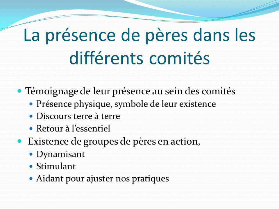 La présence de pères dans les différents comités Témoignage de leur présence au sein des comités Présence physique, symbole de leur existence Discours