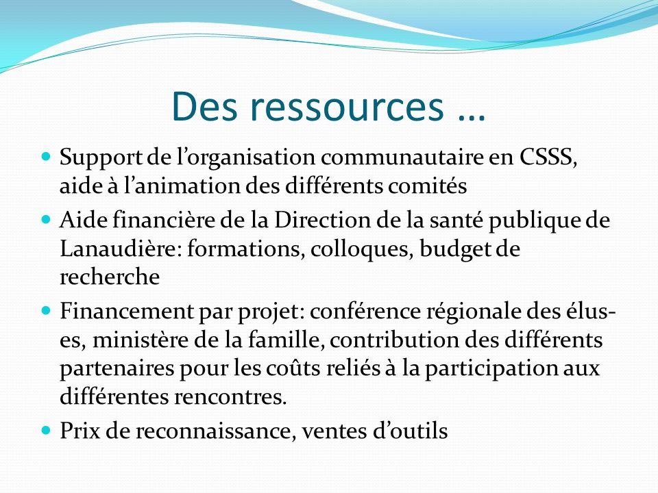 Des ressources … Support de lorganisation communautaire en CSSS, aide à lanimation des différents comités Aide financière de la Direction de la santé