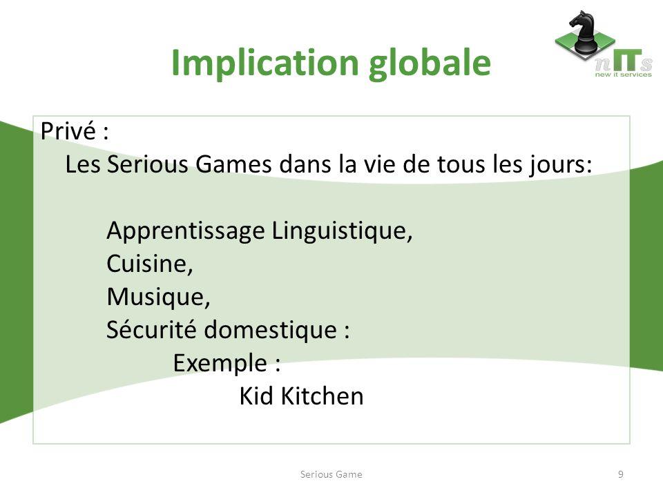 Implication globale Privé : Les Serious Games dans la vie de tous les jours: Apprentissage Linguistique, Cuisine, Musique, Sécurité domestique : Exemp